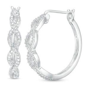 (925) Round Diamond Braid Earrings